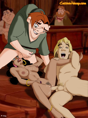 Esmeralda enjoys public sex with Hunchback and the Captain Phoebus