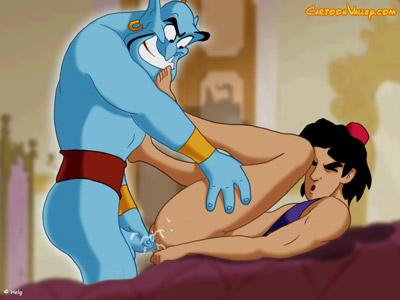 Aladdin has the hots for Genie's cock!