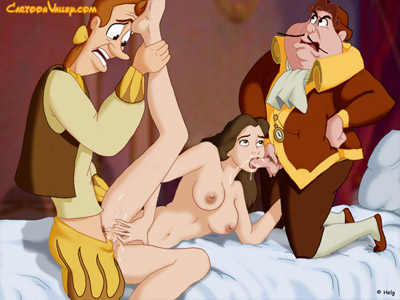 Belle's kinky 3some with Cogsworth and Lumiere