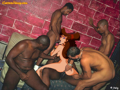 Meg gets her pussy gangbanged