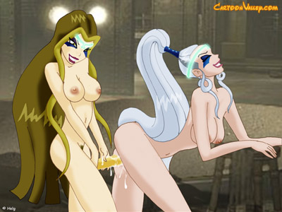 Winx girls fuck each other with strapon's
