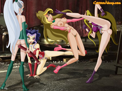 Flora Winx gets an all-girl-gangbang